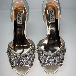 Badgley Mischka satin jeweled pump 8 bridal